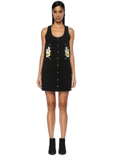 Glamorous Çıtçıt Kapatmalı Mini Kadife Elbise Siyah